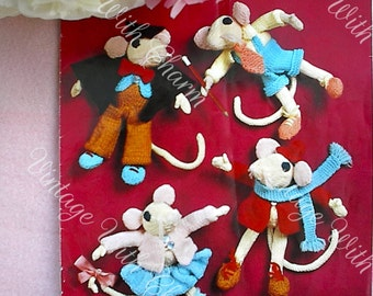 Vintage Knitting Pattern Toy 4 Mice Friends In Clothes.