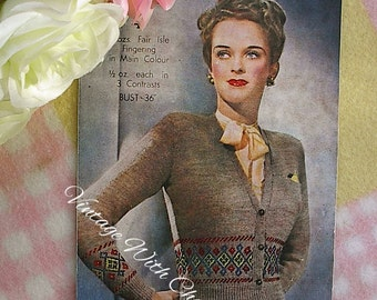 Vintage Knitting Pattern 1940s Lady's 'Classic' Cardigan With Fair Isle Borders.