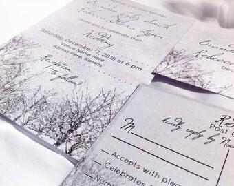 Printed Wedding Invitation, Winter Wedding Invitation, Winter wedding invite, Snow wedding invitation, grey, winter invite, grey wedding