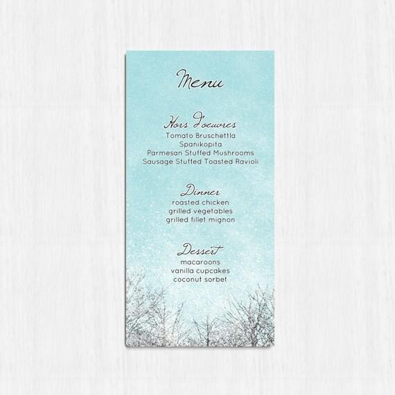 Menu Matrimonio Rustico : Menu di nozze invernali blu printable invernale