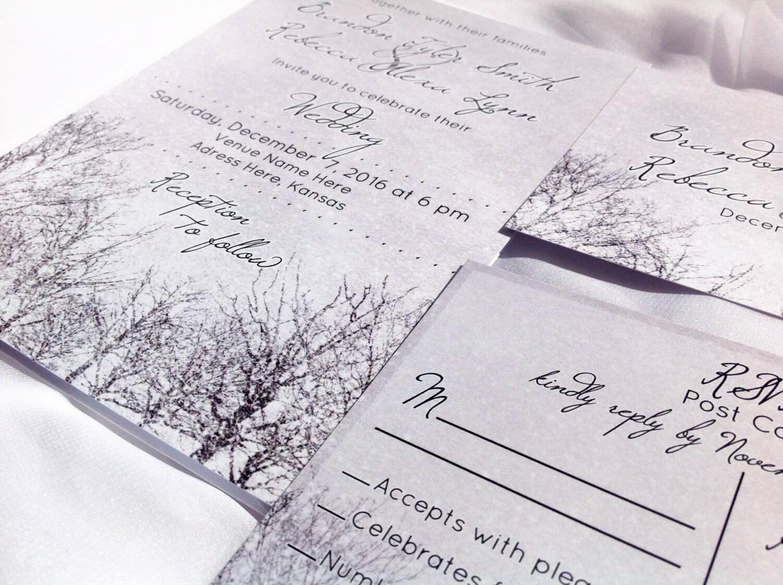 Winter Wedding Invitation Wording: Printed Wedding Invitation Winter Wedding Invitation Winter