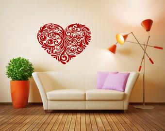 Wall Vinyl Sticker Decals Mural Room Design Heart  Love Romantic bo007