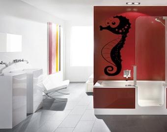 Wall Vinyl Sticker Decals Mural Room Design Pattern Seahorse Cartoon Bathroom bo1575