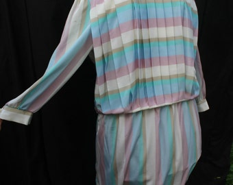 Pastel Pleated Striped Vintage Silk Dress