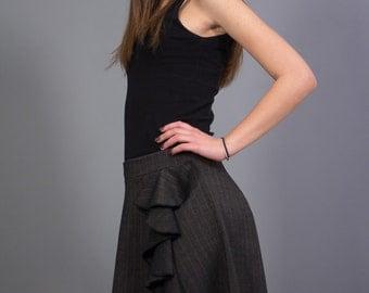 Midi striped dark gray skirt