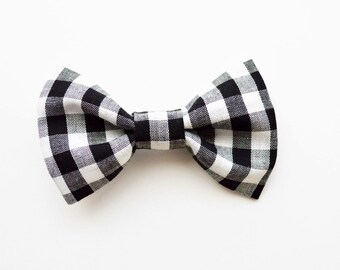 Black and White Plaid Bow Tie, Black and White Boy Bow Tie, Baby Boy Bow Ties, Bow Ties, Bow Tie, Plaid Bow Tie