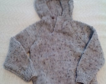 Hand Knit Child's Hooded Pullover - Grey Marble