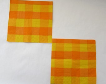 Orange Checkered Napkin Vintage Napkin Decoupage Napkin Paper Napkin Paper Supplies Collage Serviette Mixed Media Orange Napkin Set Of 3