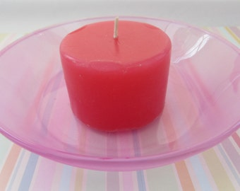 Pink Candle Dish Pillar Candle Dish Home Decor Vintage Dish Bowl Glass Ware Jewelry Dish Trinket Dish Trays Tableware Decor Dish CandleGlass