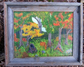11 x 14 Original Fall Forrest Acrylic Painting Framed with Barnwood