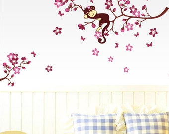Nursery Wall Decals, Monkey on Cherry Blossom Wall Decals, Monkey Wall Stickers, Nursery Wall Stickers
