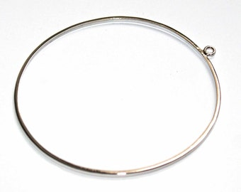 Rhodium plated silver bangle finding