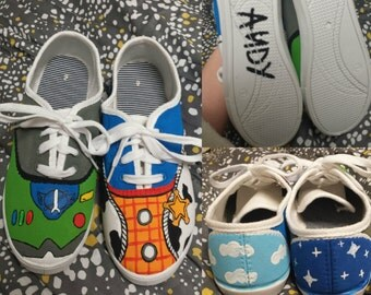 Toy story hand painted shoes