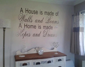 House is made of walls and beams vinyl sticker, home, decal
