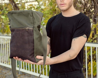 Dark green canvas side bag - men's everyday bag, suited for work and for students, the perfetct gift for him! animal & eco friendly
