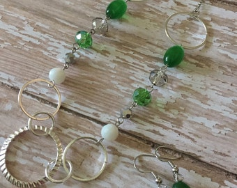Green/Silver Necklace and Earring Set