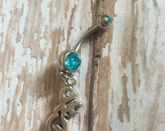 Browning, Light Blue, surgical Steel Belly Ring