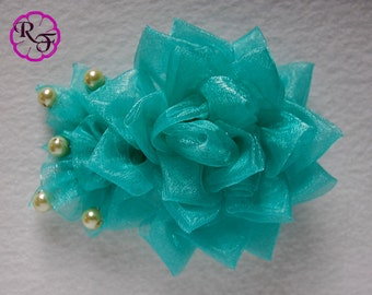 Kanzashi Flower  , Aqua ribbon flower , french barrette clip , organza flower hair accessory