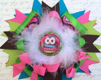 M2M mud pie forest friends owl hairbow