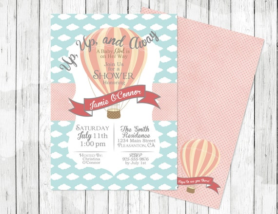 hot air balloon baby shower invitation up up and away digital file