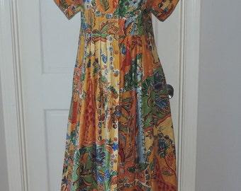 vintage 80s wild SAFARI African maxi dress animal print M colorful cotton