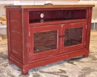 Reclaimed Salvaged Solid Wood Entertainment Console Cabinet, Vintage and Rustic