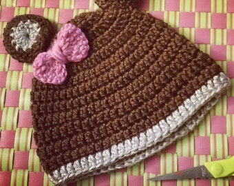 Teddy bear crotchet baby beanie hat - made to order