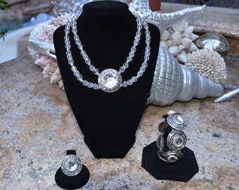 Clear Crystal Beaded and Silver Necklace, Bracelet and Earring Set