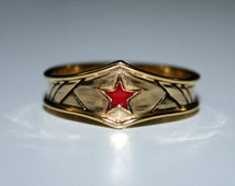 Custom gold plated surgical steel Wonder Woman Inspired Tiara Ring
