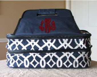 Monogrammed Double Casserole Tote