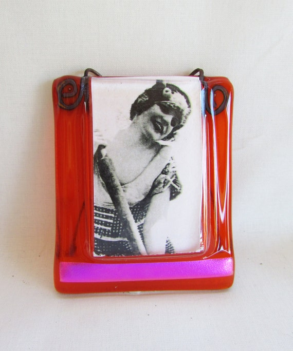 fused glass picture frame and ornament by ellenoabramsstudio
