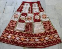 rare antique gota patti copper gold gilt indian costume skirt lehenga red white #GL3