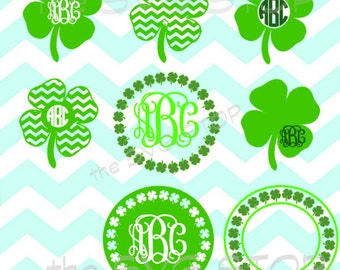 Shamrock frames & mongram bases SVG and studio files for Cricut, Silhouette, Vinyl Cutters and Screen Printing