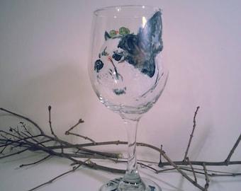 Custom Hand Painted Pet Portrait Wine Glass