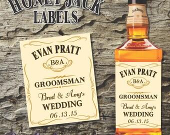Custom Jack Daniels HONEY Whiskey Bottle Labels for Groomsmen Gifts.