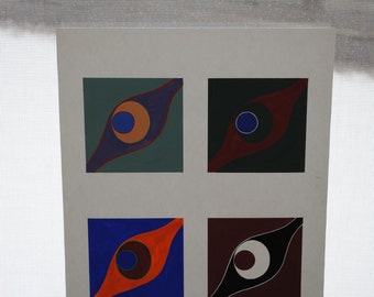 Original Abstract Gouache on Paper With Vibrant Colors. Original art, recycled and re-purposed. FREE SHIPPING