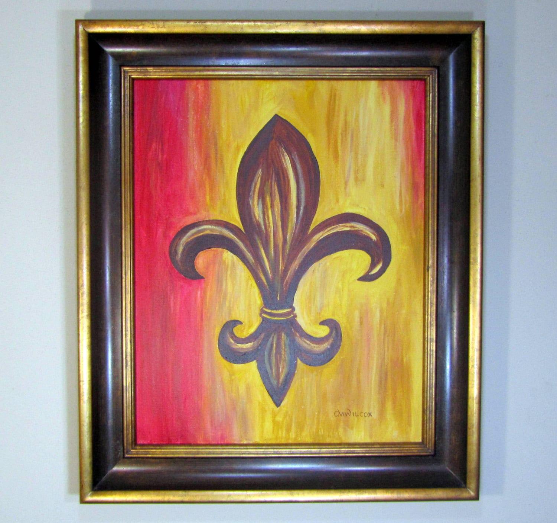 Fleur De Lis Painting On Canvas With Frame Fleur De Lis Art