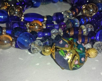 110cm cobalt and sapphire blue glass bead necklace.