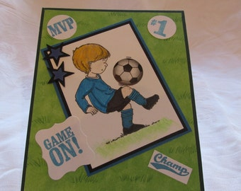 Star soccer player for Kids birthday card, MVP, #1, Champ, Game on!
