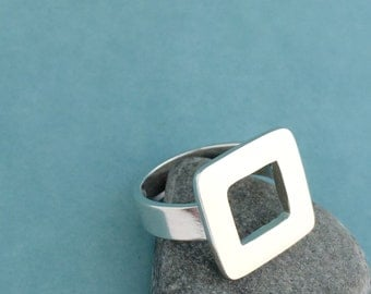 Square Sterling Silver Ring-size 8, ready to ship, minimalist, metalwork
