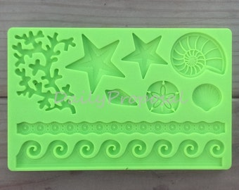 Under the Sea Silicone Embossing Mold Sea LIfe Ocean Wave Gum Paste Fondant Cake Lace Decorating Decorative Icing Sugar Craft Mat