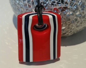 Sweetie Red and Black Rock Pendant.  Murrine rock made from glass rid.