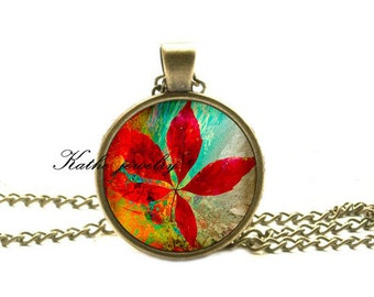 Red Leaf Pendant Red Leaf Necklace Glass Pendant Picture Pendant Photo Pendant
