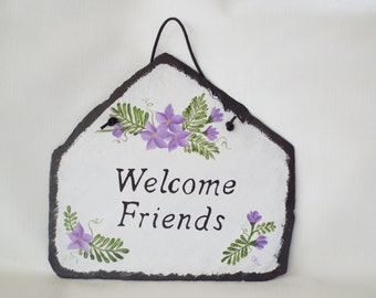 Hand Painted Slate Welcome Sign with Purple Flowers - Slate Porch Sign -House Signs - Greeting Sign - Slate Purple Flower Decor