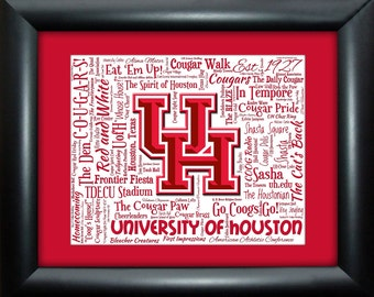 University of Houston 16x20 Art Piece - Beautifully matted and framed behind glass