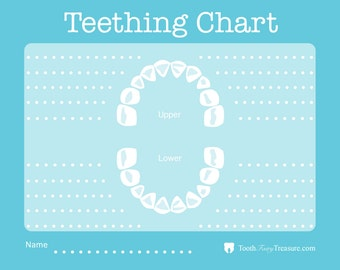 Teething Chart to Record Emerging Baby Teeth - Blue