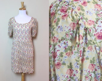 Sheer Floral Dress / Light Yellow Oversized Dress With Mini Floral Pattern