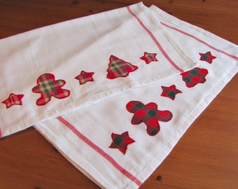 Christmas Tea Towels - set of 2; Festive Kitchen Towel; Holiday Tea Towel Set; Christmas Kitchen Accessories