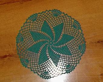 Green Crochet Pinwheel Doily