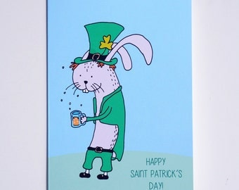 Saint Patrick's Day Bunny Celebration Greeting Card : FREE SHIPPING